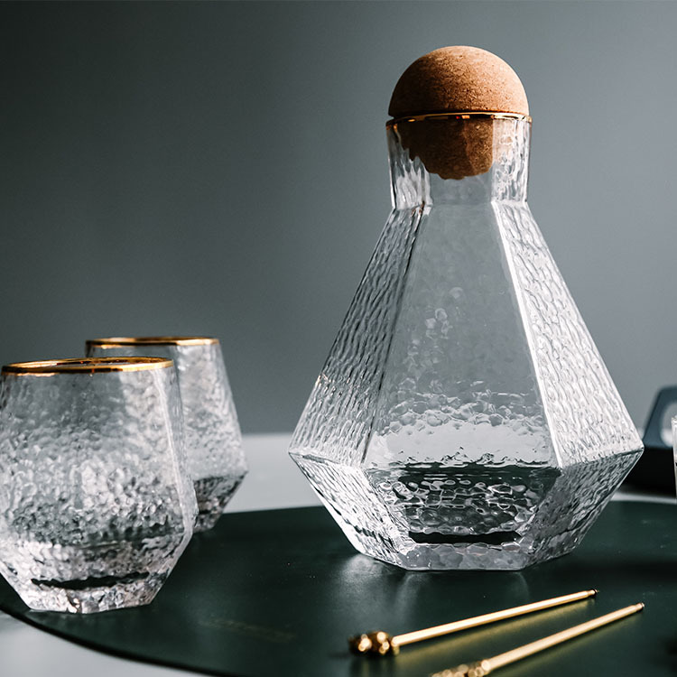 Water Kettle Glass Cups Nordic Geometric Glass Cold Water Jug Set Cup Drinking Ware Simple Household Juice Pot Water Pitcher 7