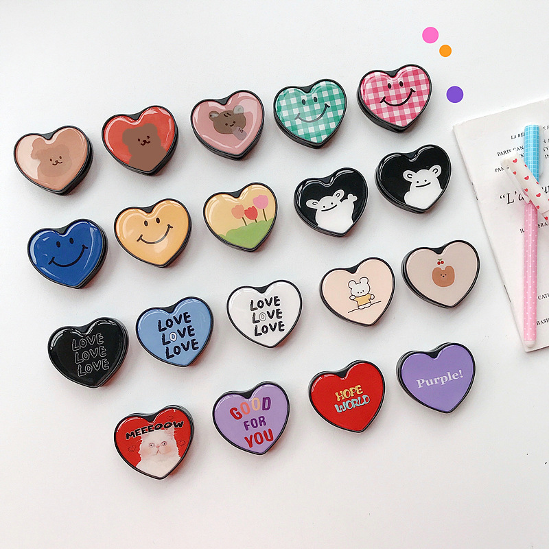 Cute Cartoon Heart-shaped Foldable Mobile Phone Handle Bracket Mobile Phone Finger Ring Bracket Suitable For IPhone Xiaomi