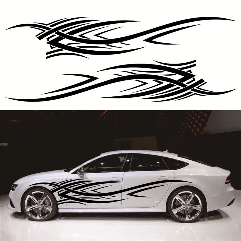 Chunmu 2pcs 2 4m Flame Totem Decals Car Stickers Full Body Car Styling Vinyl Decal Sticker for Cars Decoration Strong adhesive