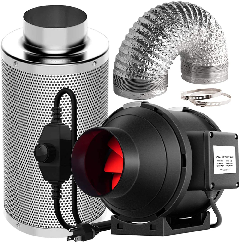 4 дюйма 190CF закрытый круглый канальный вентилятор вентиляция вентилятор с переменной Скорость контроллер для Growbox Крытая гидропоника, шатер...