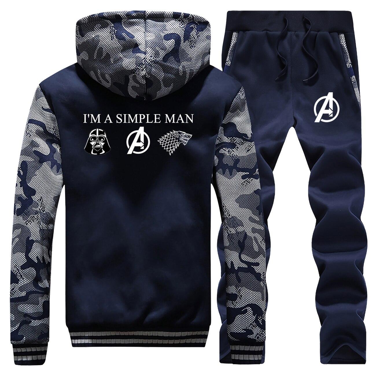 Game Of Thrones Star Wars The Avengers Hoodies Pant Set Men Tracksuit Coat Track Suit Winter Thick Fleece Jacket Camo 2 PCS Sets