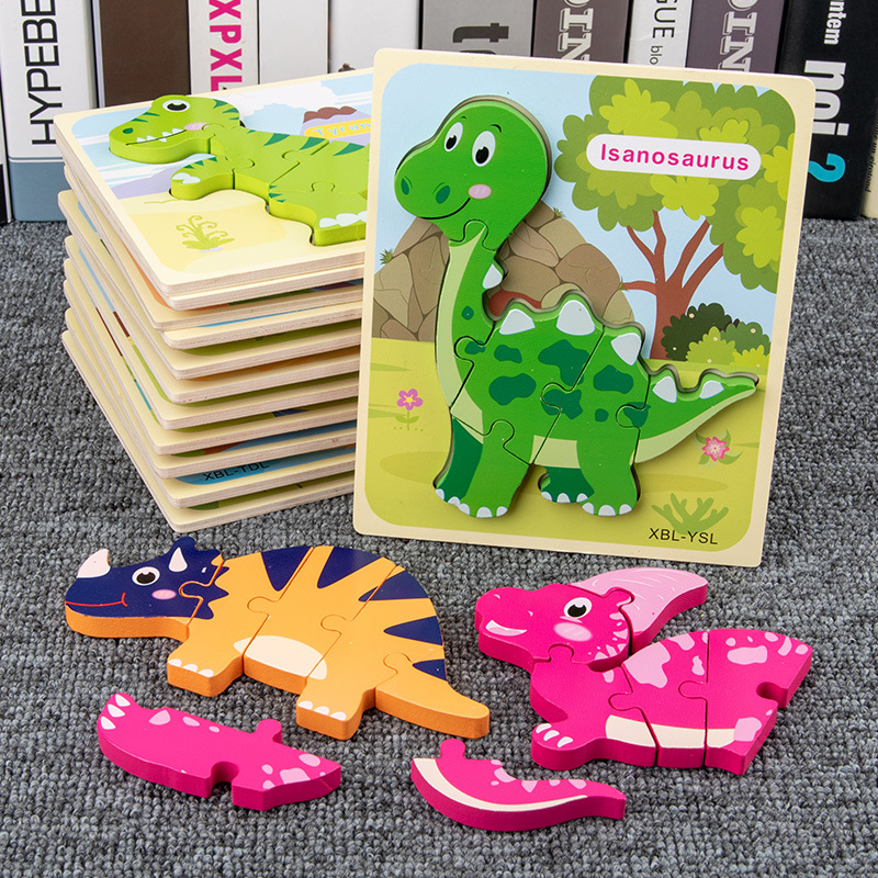 Dinosaur Wooden Puzzle Jigsaw Toys For Children 3D Cartoon Animal Puzzles Intelligence Kids Early Educational Toys For Children