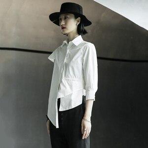 [EAM] Women White Brief Irregular Hem Stitch Blouse New Lapel Short Sleeve Loose Fit Shirt Fashion Tide Spring Summer 2020 1X012
