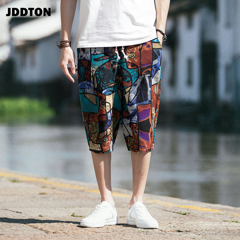 JDDTON Men's New Retro Printing Loose Shorts Beach Sweatshorts Casual Traditional Japanese  Floral Shorts Cropped Trousers JE022
