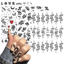 Pegatinas 3D Diseño de serpiente para manicura, pegatinas deslizantes de dragones coloridos, serpiente negra, decoración artística de uñas, Año Nuevo