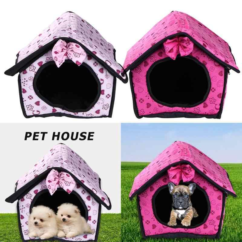 Cute Foldable Cat Dog House Warm Soft Winter Cotton Pet Dog Cat Bed Kennel Fleece Cozy Nest For Cat Dogs S-XXL Pet Supplies