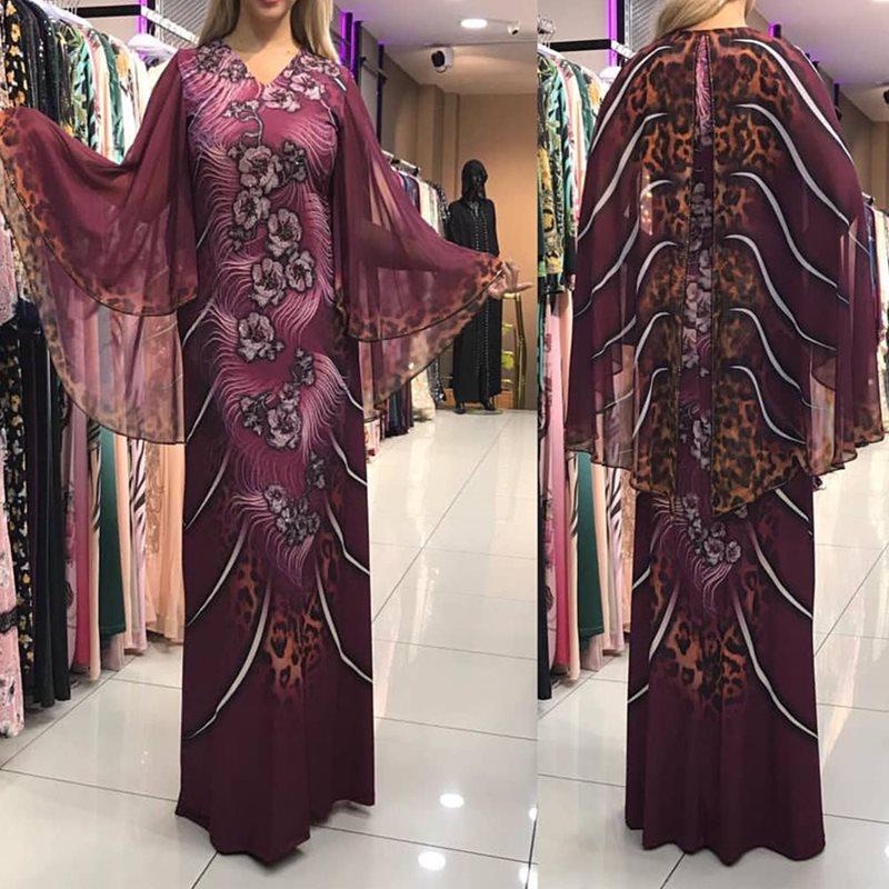 Grande taille mode africaine Sexy luxe Floral imprimé femmes Maxi robes droites Cape Cape Robe en mousseline de soie femme soirée