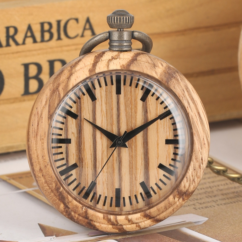 Simple Watch Wooden Pocket Watch Chain Retro Wood Round Dial Analog 12 Hours Display Quartz Pocketwatch Art Collections For Men