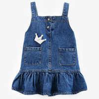 Crianças denim vestidos para meninas crianças roupas de verão vestidos de meninas marca bebê crianças sundress 0-5years meninas roupas de crianças