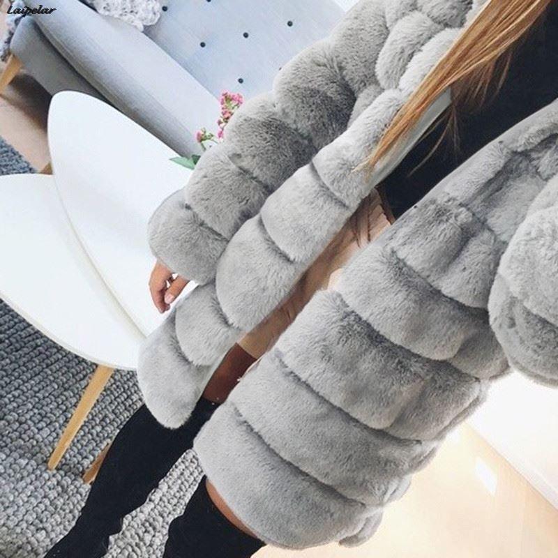 Laipelar Women Winter Faux Fur Coat Cozy Jacket Open Front Hooded Thicken Coat Pure Color Long Sleeve Warm Outwear Overcoat