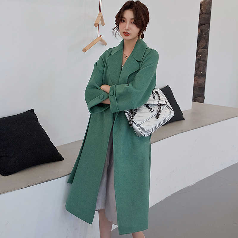 Women's coat cashmere double-sided loose 2019 autumn and winter new Hepburn wind solid color long knee over pure wool woolencoat