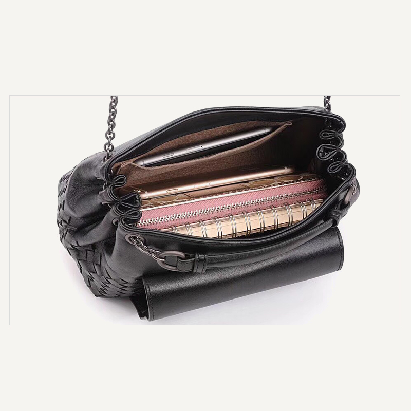 Simple fashion 100% sheepskin woven shoulder bag ladies leather casual wild Messenger bag female chain bag 2020 new BV bag - 6