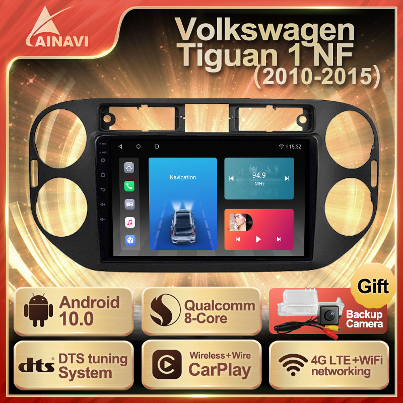 Автомобильный радиоприемник Android 10 QLED для Volkswagen Tiguan 1 NF 2010 - 2015 автомобильный стерео Мультимедийный видеоплеер Navi GPS Carplay NO 2din