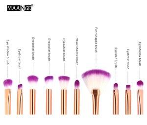 Image 5 - MAANGE 10 قطعة فرشاة ماكياج ذات ألوان رائعة مجموعة ذيل السمكة الأساس مسحوق عينيه يشكلون فرش كونتور مزج فرش التجميل