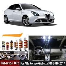 11 sztuk biały Canbus bez błędu żarówki LED samochodowe wnętrze Dome mapa zestaw oświetleniowy dla Alfa Romeo Giulietta 940 2010-2017 lampka drzwi bagażnika