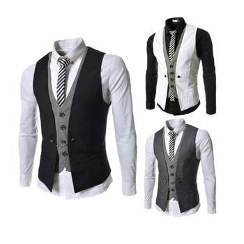 Men Sleeveless V Neck Single-breasted Slim Gilet Business Suit Top Waistcoat