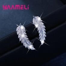 Hot Sale Korean Elegance Leaf Women Stud Earring 925 Sterling Silver Clear Rhinestone CZ Crystal Handemade Ear Brincos Pendiente