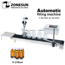 ZONESUN Automatic Electrical Conveyor Belt Single Head Liquid Filler Can Sense High Precision Heat Resistance Filling Machine