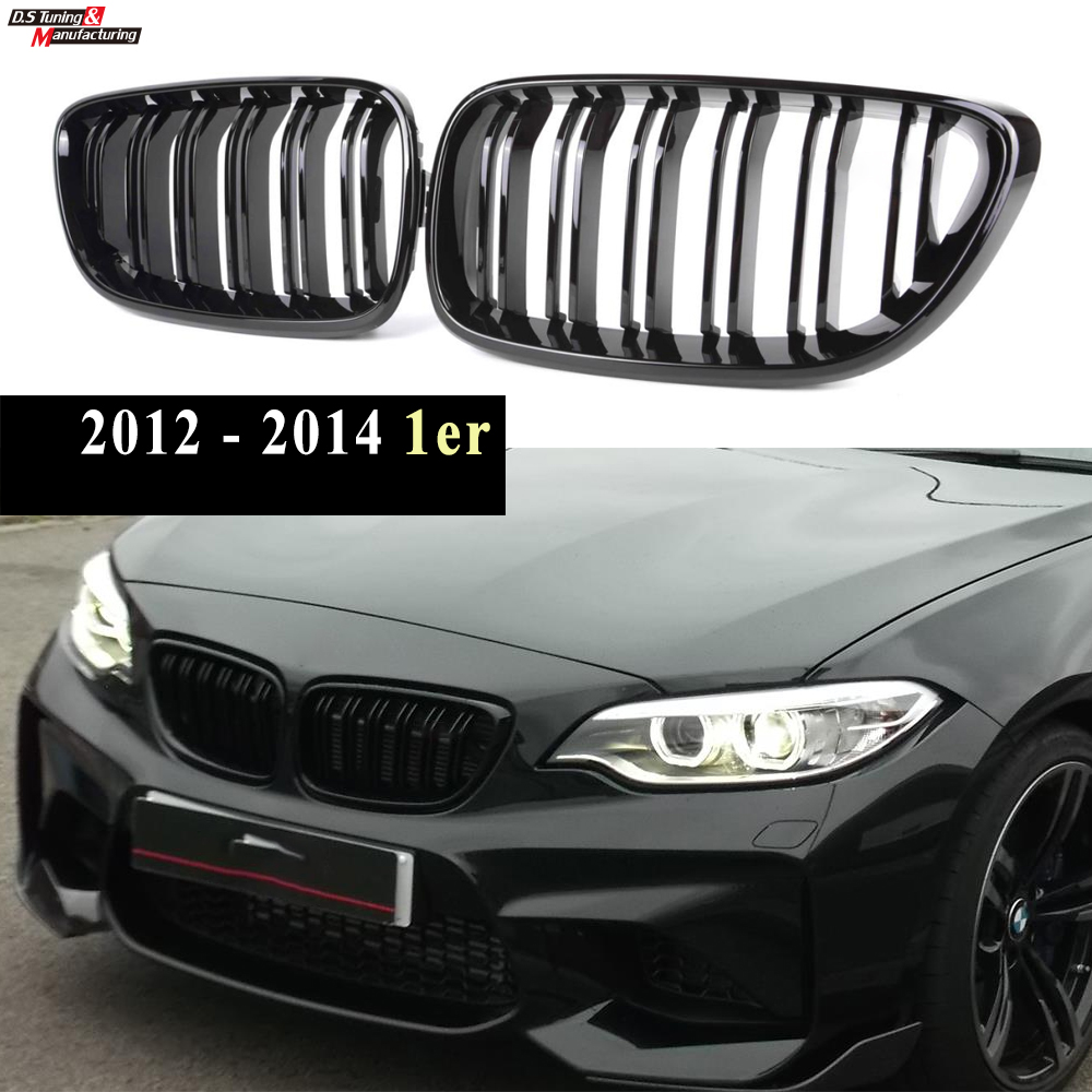 for BMW 2 Series 2-Door Replacement Front Kindbey Grille 2013 - 2020 F22 F23 F87(M2) 2-Slat Glossy Black image