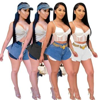 2020 Summer Women's Jeans European and American Hot Style Model Zipper Fly Solid-color Wide Leg Pants with Pockets zipper fly straight leg pockets cargo pants