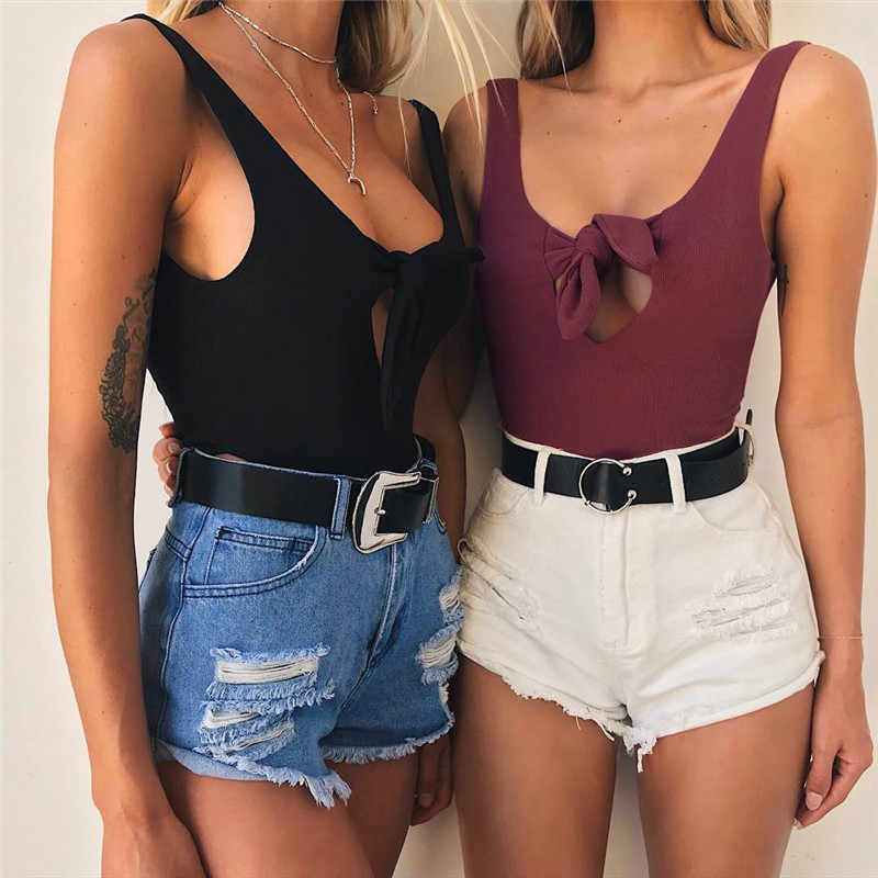 Women Skinny Bodysuits for Streetwear Bow Hollow Out Design Sleeveless Backless Solid Color Lady Summer Slim Jumpsuits