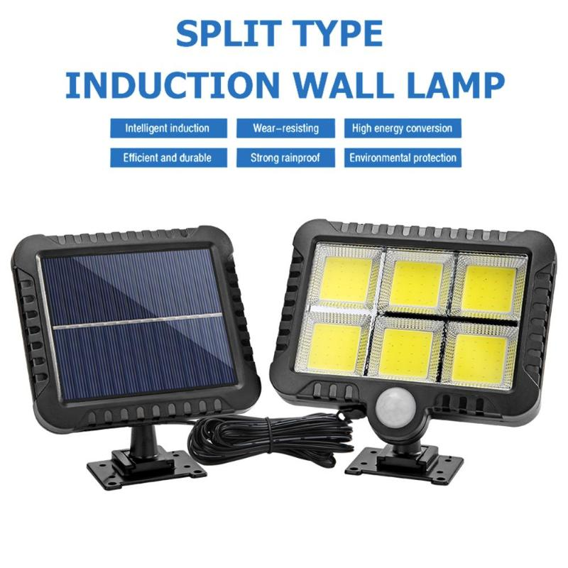 COB 120LED Solar Motion Sensor Wall Light Outdoor Waterproof Garden Lamp Hole Drilling Wall Hanging Light For Garden Courtyard