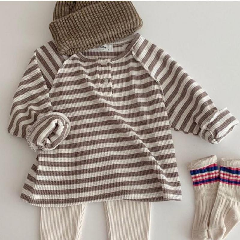Kids Baby Girls Boys Striped Clothes Toddler Infant Ribbed Cotton Long Sleeve T Shirt With Buttons Casual Tops Clothing