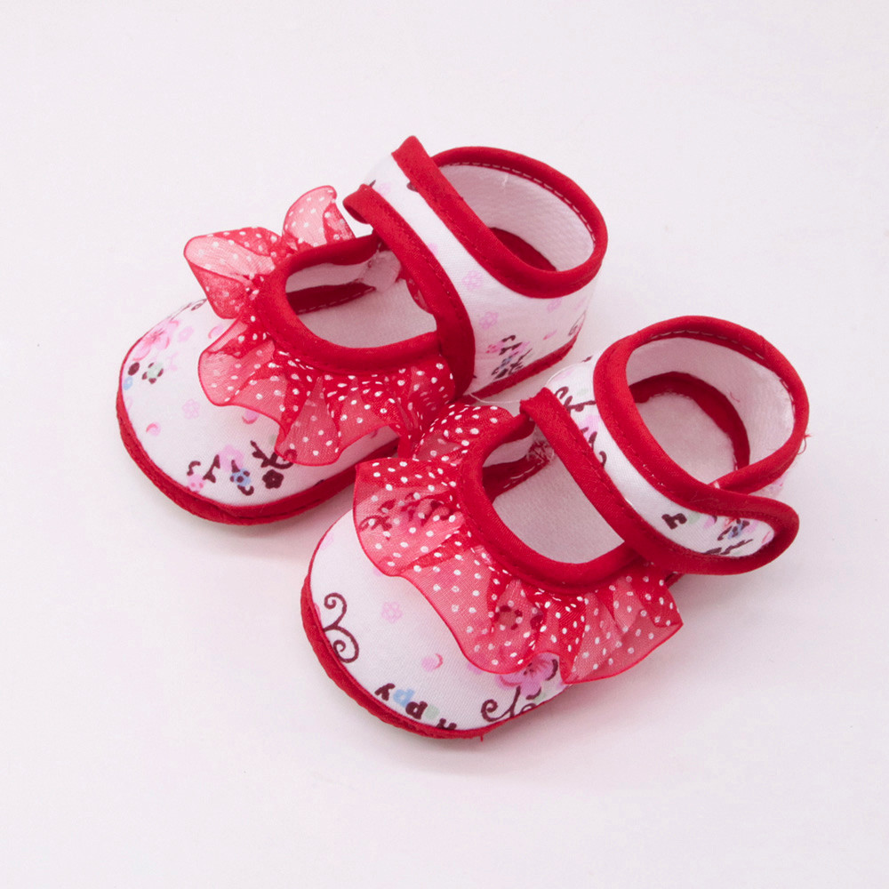 Huang Neeky #P501 2019 First Walkr Newborn Baby Girls Soft Shoes Soled Lace Floral Print Footwear Crib Shoes Hot Drop Shipping