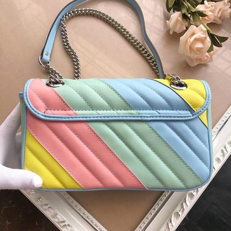 Walking Show Big Brand Design, One Shoulder Slant Span, Portable Fashion Rainbow Bag, Medium Luxury Leather Bag, New 2020