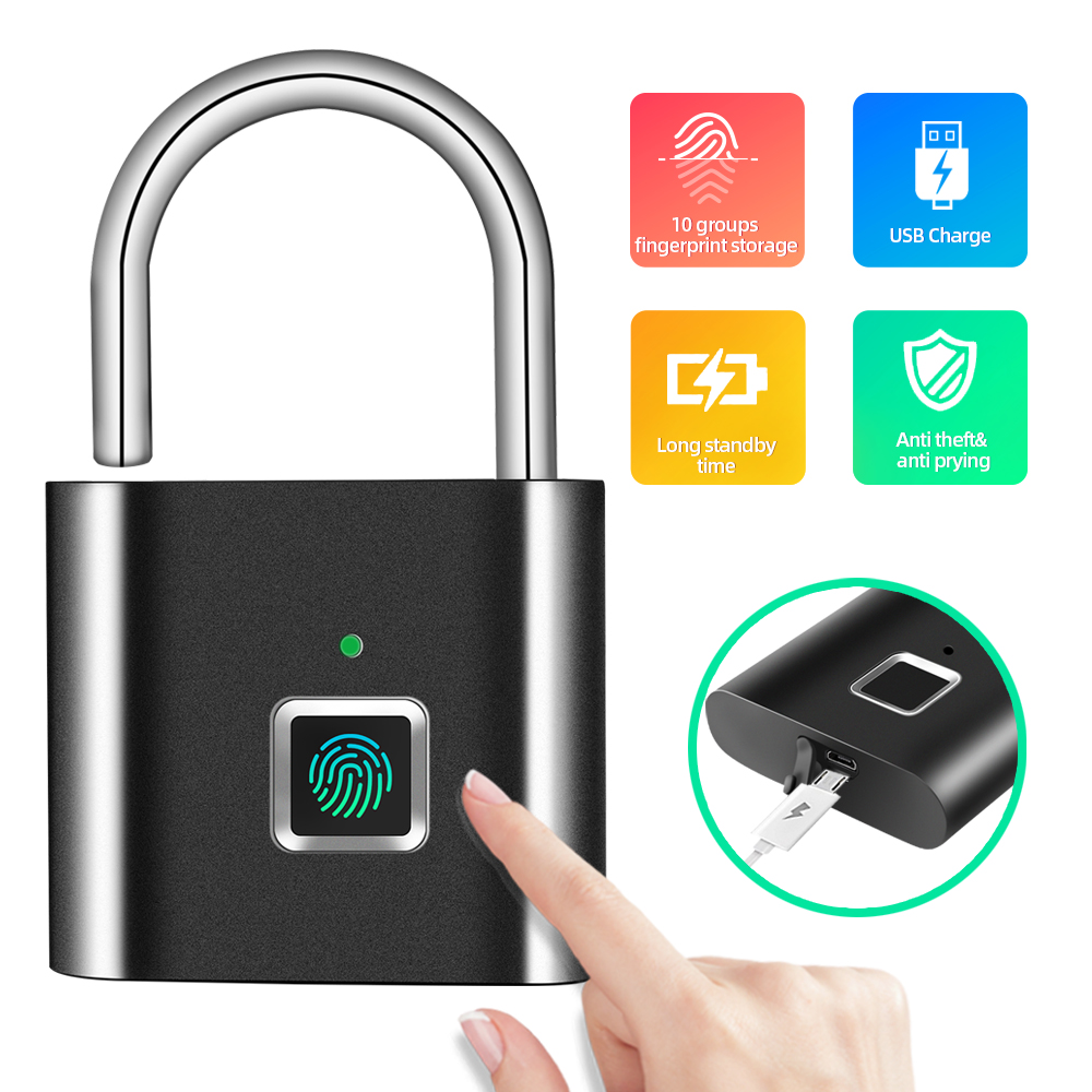 Security Door Lock Smart Keyless USB Rechargeable Fingerprint Padlock For Locker Sports School Zinc Alloy Metal(No Key App Lock)