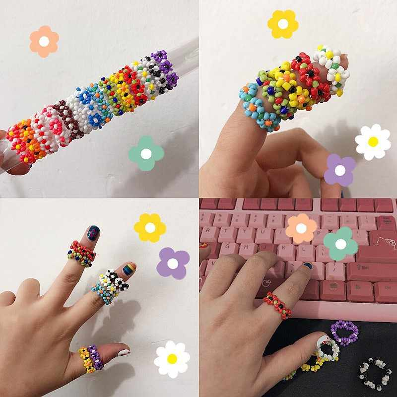 Korean Handmade Multi-color Flower Rice Beads Ring Stretch Weave Resin For Women Girl Colorful Cute Boho Friendship Jewelry Gift