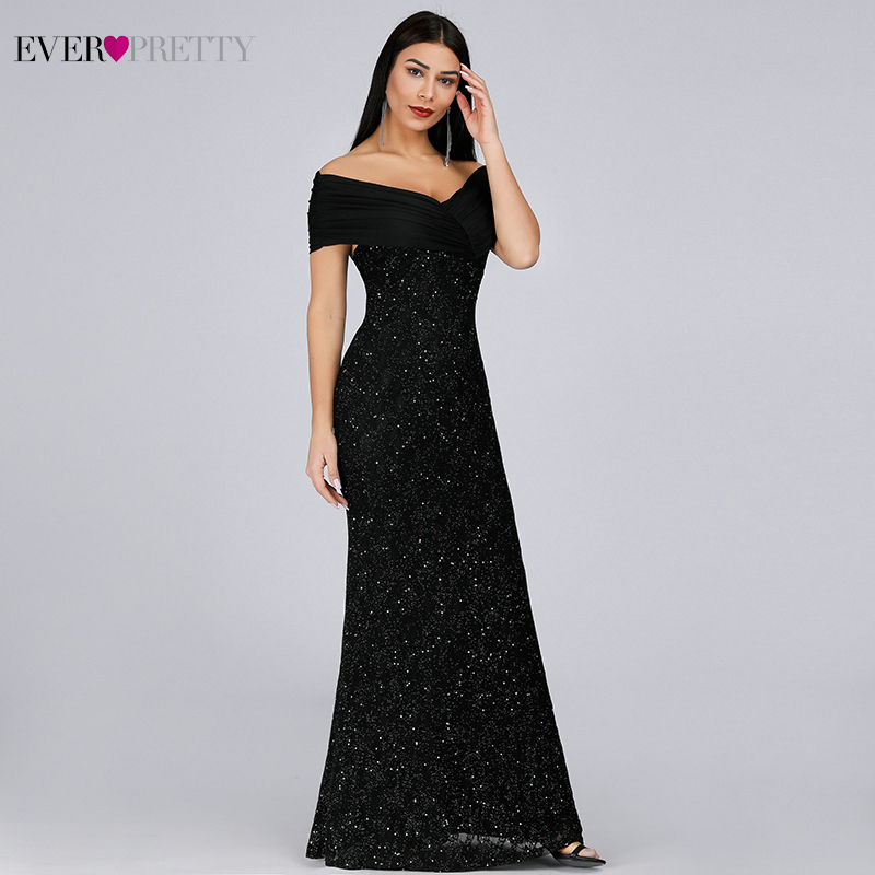 Sparkle Mermaid Prom Dresses Long Ever Pretty Off The Shoulder Sexy Black Evening Party Gowns For Women Gala Jurken Dames 2020