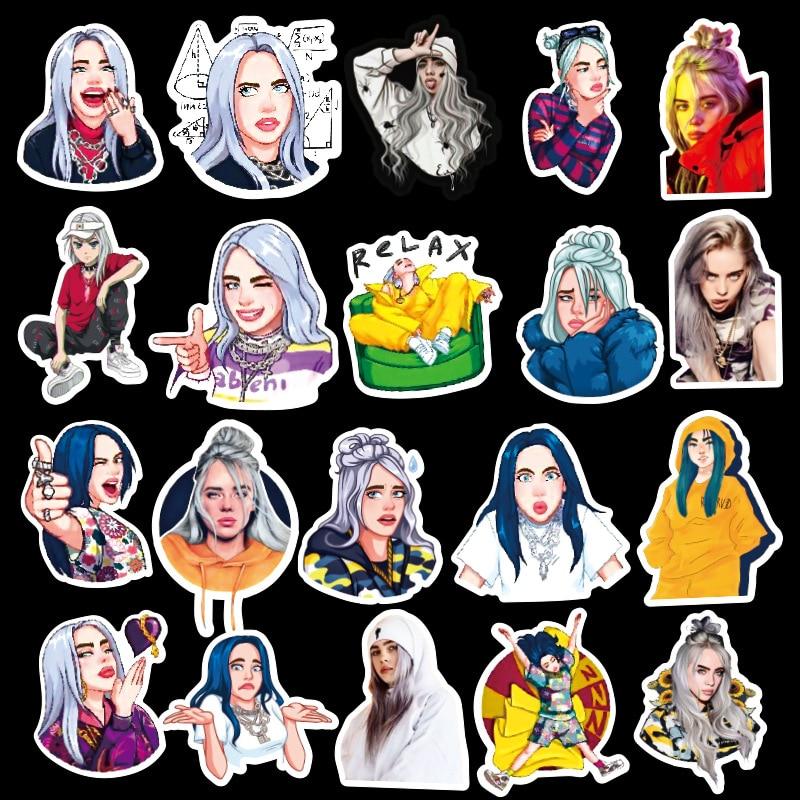Купить с кэшбэком 50 Billie Eilish kawaii singer American drama stickers pegatinas PVC graffiti stickers suitcase guitar car stickers waterproof
