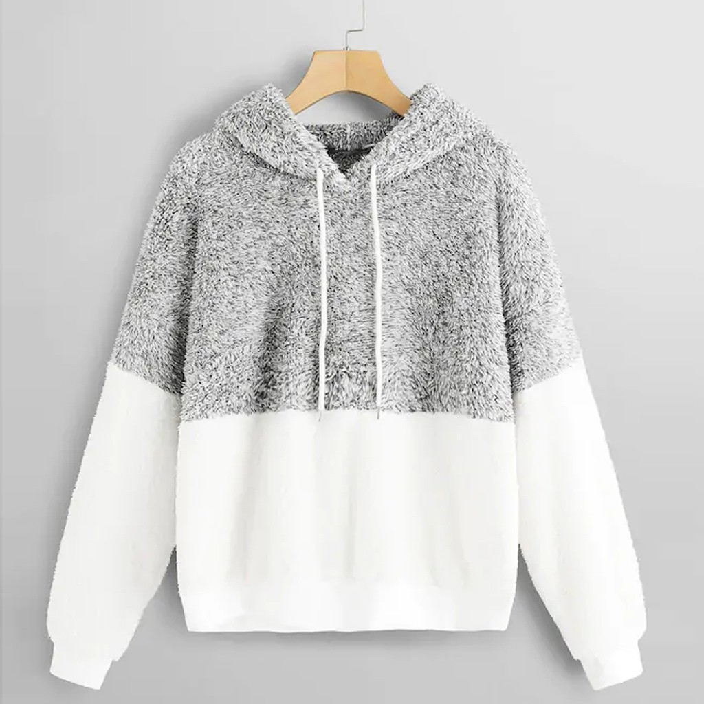 Women Sweatshirt Pullovers Tops Teddy Fluffy Hoodies Patchwork Long-Sleeve Loose Warm title=