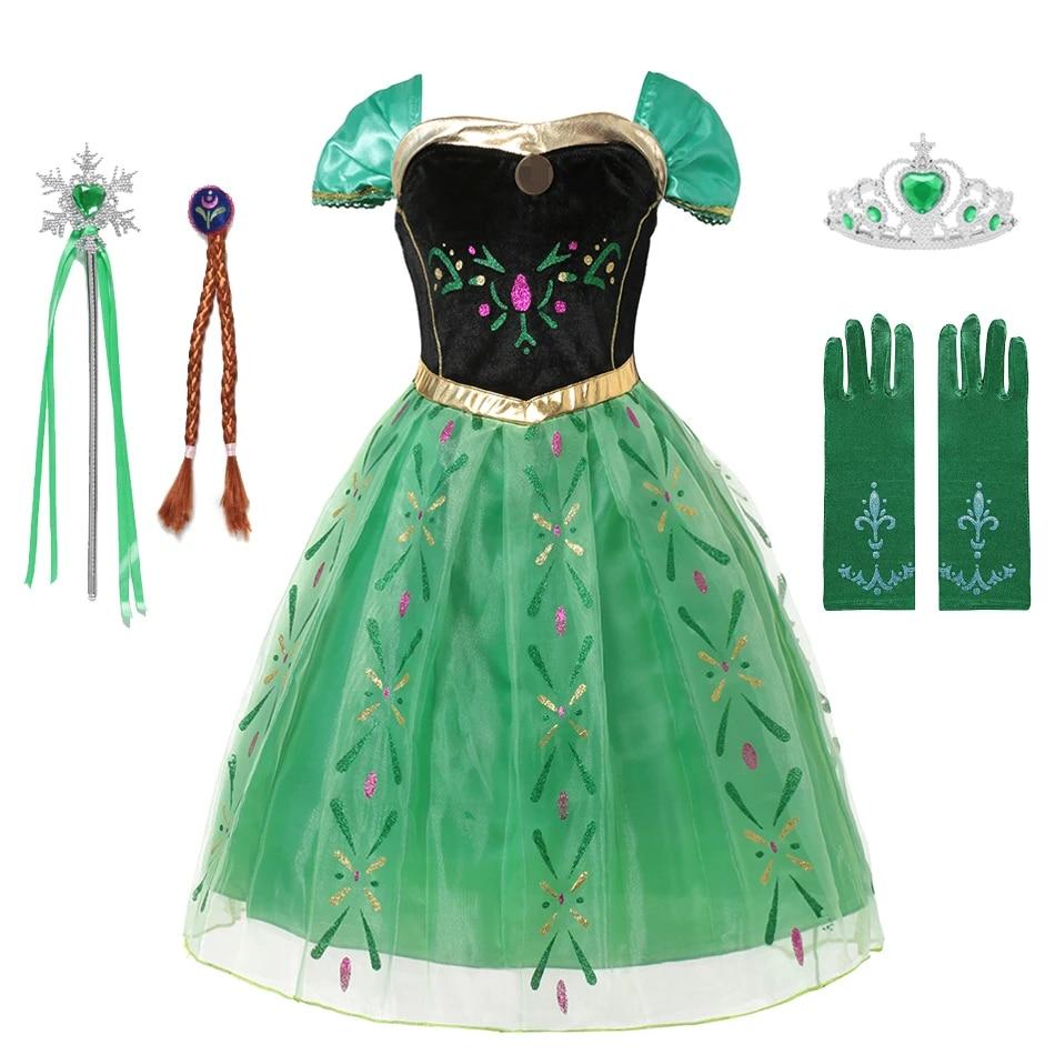 cizgi film cocuk kar kralice anime kostum prenses anna elbise kizlar elsa anna parti giyim los reyes magos karnaval kostum