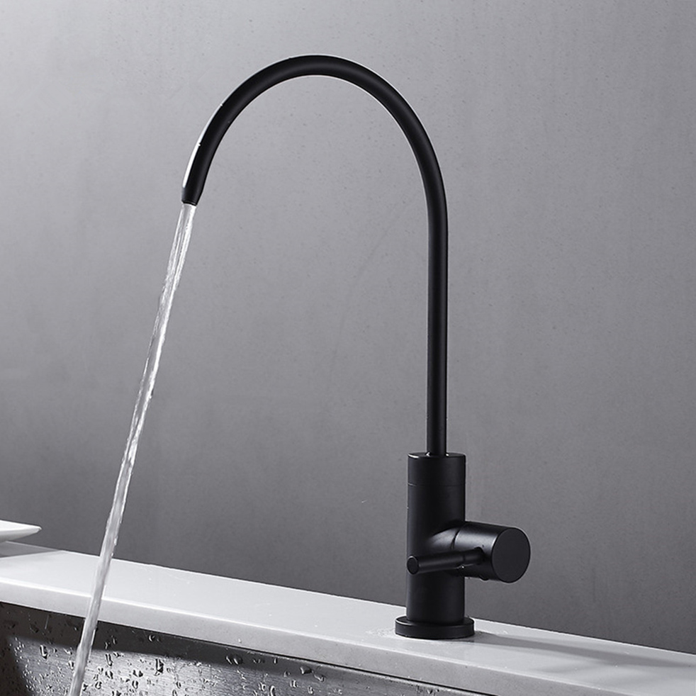 matte black stainless steel drinking water filter tap ro lead free beverage faucet drinking water filtration system 1 4inch tube