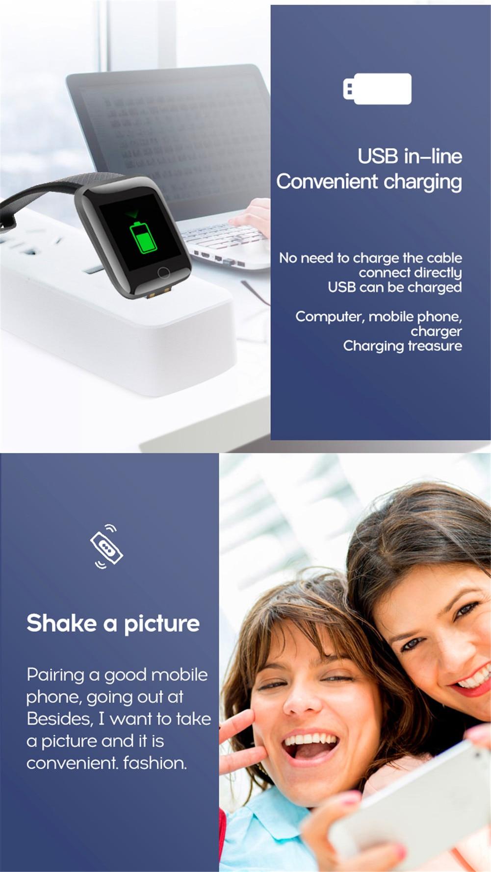 H4674eb48dd3545aba549646eec9ccbeet Smart Band Blood Pressure 1.14'' Screen Fitness Tracker Watch Heart Rate Fitness Bracelet Waterproof Music Control For Men Women