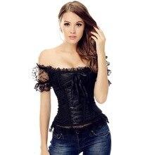 Womens Vintage Waist Slimming overbust Corset Bustier Top Bride Lace Up Party Club Bodysuits Steampunk shoulder strap corselet