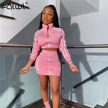 FQLWL Streetwear dwuczęściowy zestaw kobiet garnitury letni klub różowy Neon stroje 2 sztuka zestaw spódnic dres kobiet panie pasujące zestawy tanie tanio Krótki Powyżej kolana Mini Osób w wieku 18-35 lat Stanąć kołnierz Zipper fly Poliester spandex WOMEN Sexy Club