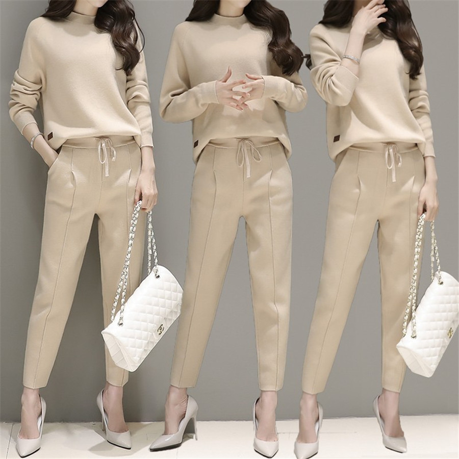 2019 New Women's Tracksuit Casual Costumes For Women Spring Female Sporting Suits Sweatshirt Pant Suit Two Piece Set Sportswear