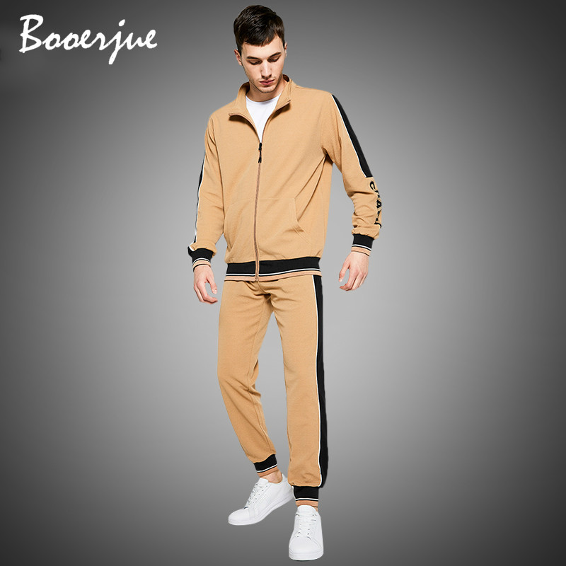 Men's Sweatsuit Sets Autumn Winter 2 Piece Zipper Jacket Track Suit + Pants Casual Tracksuit Men New Sportswear Set Clothes 2020