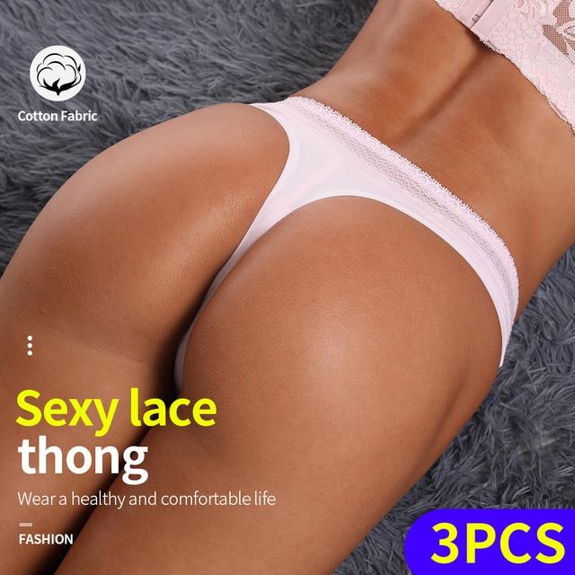 3Pcs Cotton Crotch Thong With Lace Waist 3