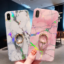 Luxury Laser Marble Case For iPhone 7 8 Plus 6 6s Ring Holder Cases For iPhone X XS MAX XR Soft TPU Cover Colorful Stand Coque laser marble finger ring holder phone cases for iphone 11 pro max case cover funda for iphone 7 8 6 6s plus xs max xr case coque