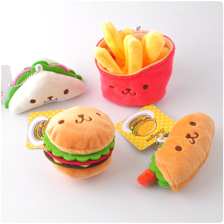 Creative Food Hamburger Sandwich Hot Dog French Fries Plush Keychain Cartoon Soft Plush Doll Toy Plush Pendant For Kids Gift