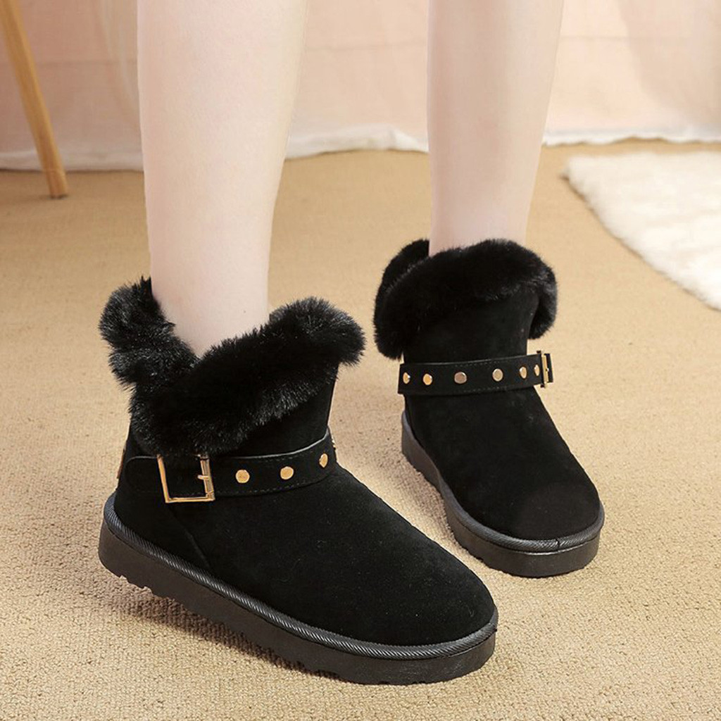 Jaycosin Winter shoes woman Warm Buckle Decoration Round Toe Shoes Fur Snow Ankle Boots Down Keep Warm boots women botas mujer 1