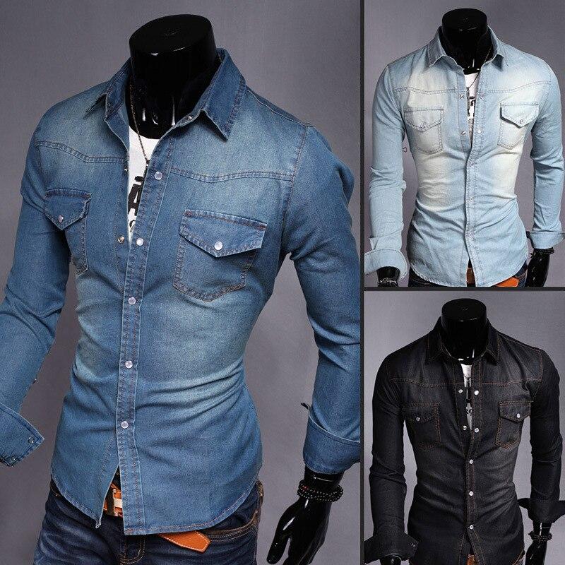 Men's Wear Spring Men Korean-style Denim Shirts Washing Pocket Slim Fit Long-sleeved Shirt Large Size