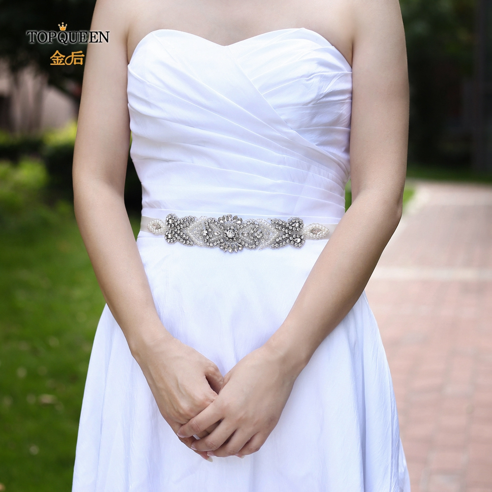 TOPQUEEN S208 Wedding Accessory Bride Rhinestone Beaded Belt Women Dress Belts White Wedding Dress Belt Wedding Belt Pearls