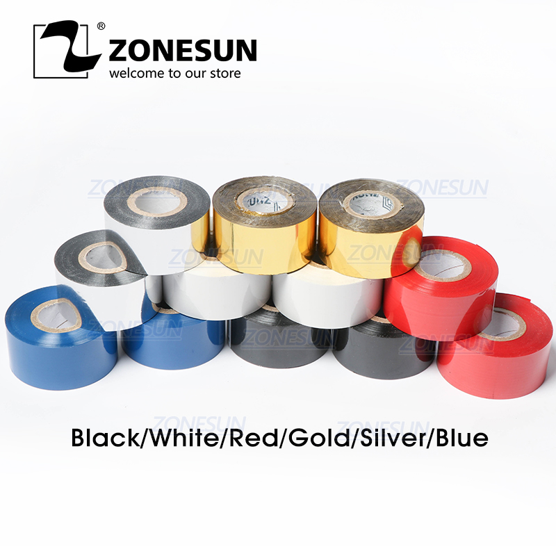ZONESUN Thermal Ribbon Of Ribbon Printing Machine, 30*100m, Date Printing Ribbon For Plastic And Paper(5roll/lot)