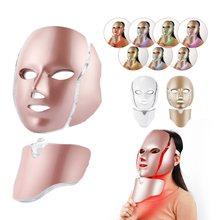 7 colori LED Light Therapy maschera per il viso con collo ringiovanimento della pelle fototerapia maschera di bellezza Anti Acne pelle stringere illuminare la macchina