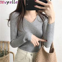 Autumn Winter Sweater Pullovers Women 2019 Basic V-neck Solid Female Knitted Sweater Slim Long Sleeve Badycon Sweaters Women цена и фото